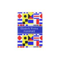 Colorful Nautical Signal Flags Royal Name Monogram Passport Holder