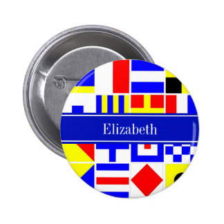 Colorful Nautical Signal Flags Royal Name Monogram Pinback Button