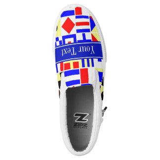 Colorful Nautical Signal Flags Royal Name Monogram Printed Shoes