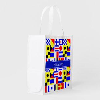 Colorful Nautical Signal Flags Royal Name Monogram Grocery Bags