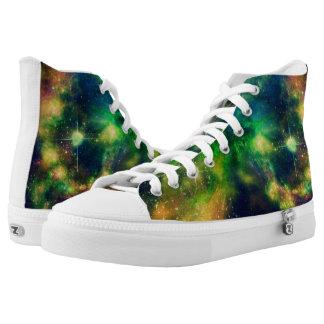 Colorful Nebula and Stars Hightop ZIPZ Printed Shoes