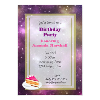 Colorful Nebula and Stars in Space Birthday party Card