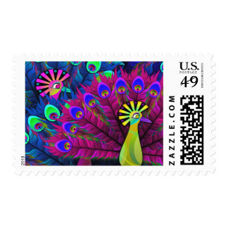 Colorful Neon Abstract Peacock Postage