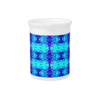 Colorful Neon Blue Royal Blue Tribal Pattern Drink Pitcher