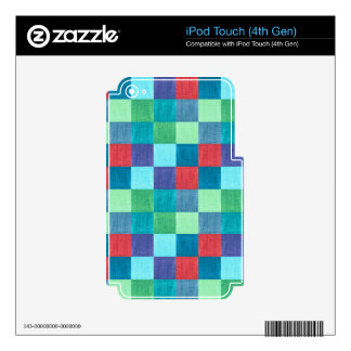 Colorful neon checkered pattern decal for iPod touch 4G