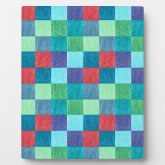 Colorful neon checkered pattern plaque