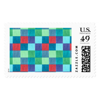 Colorful neon checkered pattern postage