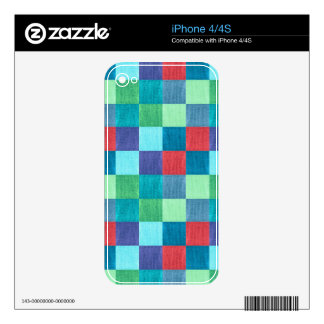 Colorful neon checkered pattern skin for iPhone 4S