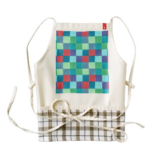 Colorful neon checkered pattern zazzle HEART apron