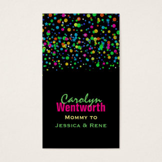 Colorful Neon Confetti Mommy Networking Card