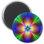 Colorful Neon Daisy 2 Inch Round Magnet