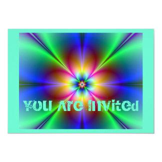 Colorful Neon Daisy 5x7 Paper Invitation Card
