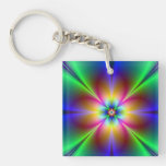 Colorful Neon Daisy Double-Sided Square Acrylic Key Ring