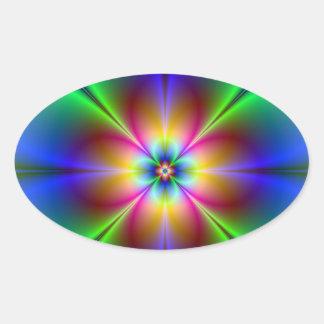 Colorful Neon Daisy Oval Sticker