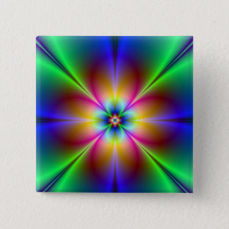 Colorful Neon Daisy Pinback Button