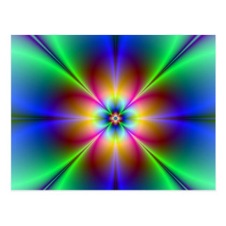Colorful Neon Daisy Postcard