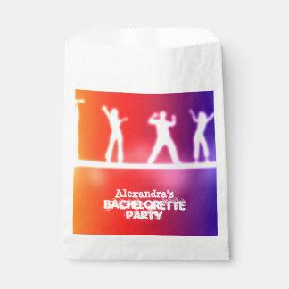 Colorful neon dancing bachelorette party favor bag