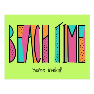 Beach Themed Colorful Neon Green Beach Time Party Invitation Postcard