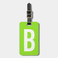Colorful Neon Green Monogram Travel Luggage Tag at Zazzle