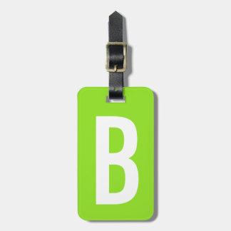 Colorful neon green monogram travel luggage tag