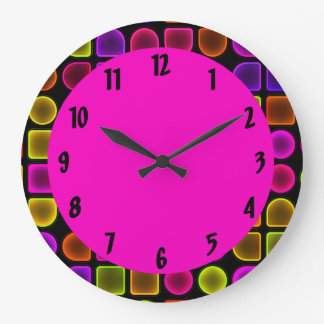Colorful Neon Large Decorative Wall Clock