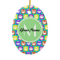 Colorful Neon Owl Custom Monogram, Personalized Ceramic Ornament