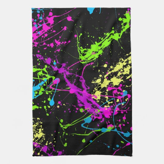 Colorful Neon Paint Splatters on Black Kitchen Towel