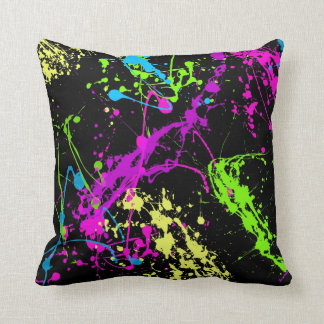 Colorful Neon Paint Splatters on Black Pillow
