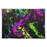 Colorful Neon Paint Splatters on Black Cloth Placemat