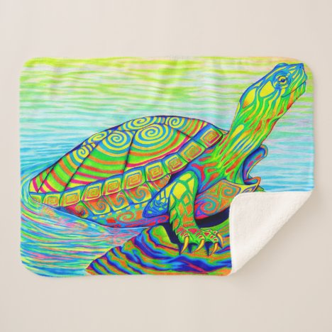 Colorful Neon Painted Turtle Sherpa Blanket