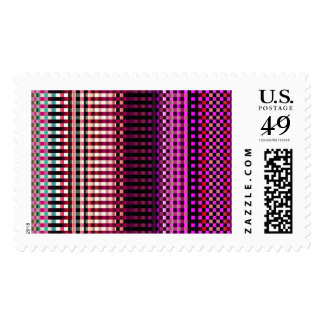 Colorful neon pink abstract pattern postage