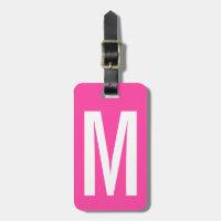 Colorful neon pink monogram travel luggage tag