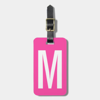 Colorful neon pink monogram travel luggage tag
