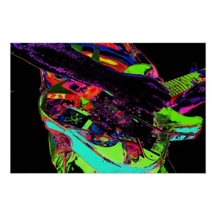 colorful neon psychadelic guitar player poster