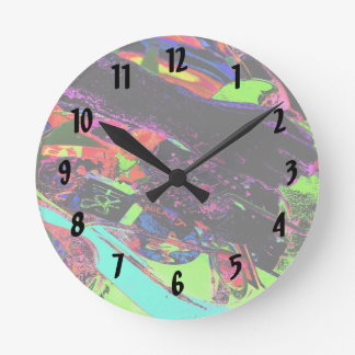 colorful neon psychadelic guitar player round wall clocks