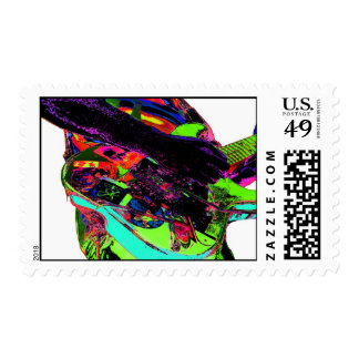 colorful neon psychadelic white guitar player postage stamps