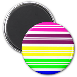 Colorful Neon Rainbow Stripes Vibrant Bold Pattern 2 Inch Round Magnet
