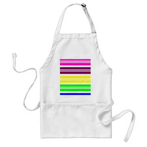 Colorful Neon Rainbow Stripes Vibrant Bold Pattern Adult Apron