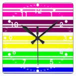 Colorful Neon Rainbow Stripes Vibrant Bold Pattern Wallclocks