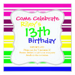 Colorful Neon Rainbow Stripes Vibrant Bold Pattern 5.25x5.25 Square Paper Invitation Card