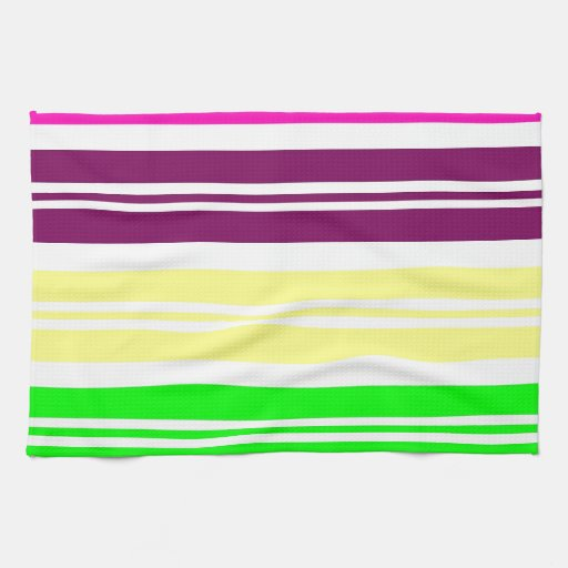 Colorful Neon Rainbow Stripes Vibrant Bold Pattern Towel