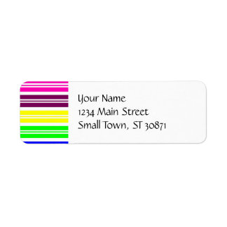 Colorful Neon Rainbow Stripes Vibrant Bold Pattern Label