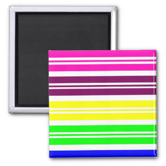 Colorful Neon Rainbow Stripes Vibrant Bold Pattern Magnet