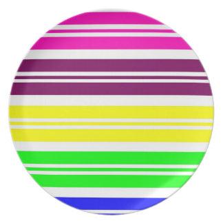 Colorful Neon Rainbow Stripes Vibrant Bold Pattern Melamine Plate