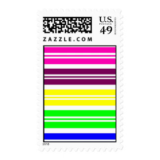 Colorful Neon Rainbow Stripes Vibrant Bold Pattern Postage Stamp