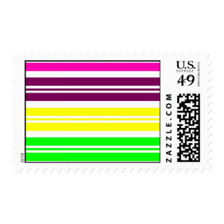 Colorful Neon Rainbow Stripes Vibrant Bold Pattern Stamp