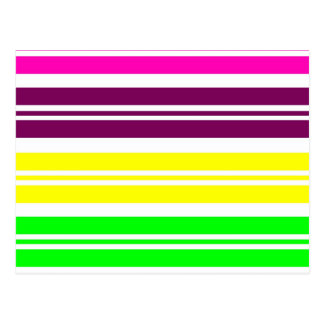 Colorful Neon Rainbow Stripes Vibrant Bold Pattern Postcard