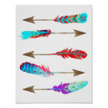Colorful Neon Rustic Bohemian Feather Arrows Poster