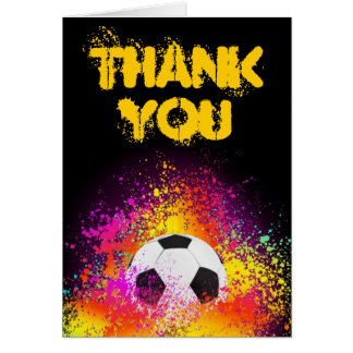 Colorful Neon Soccer Theme Thank You Note Card