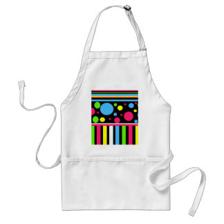 Colorful Neon Stripes Polka Dots Pink Blue Green Aprons